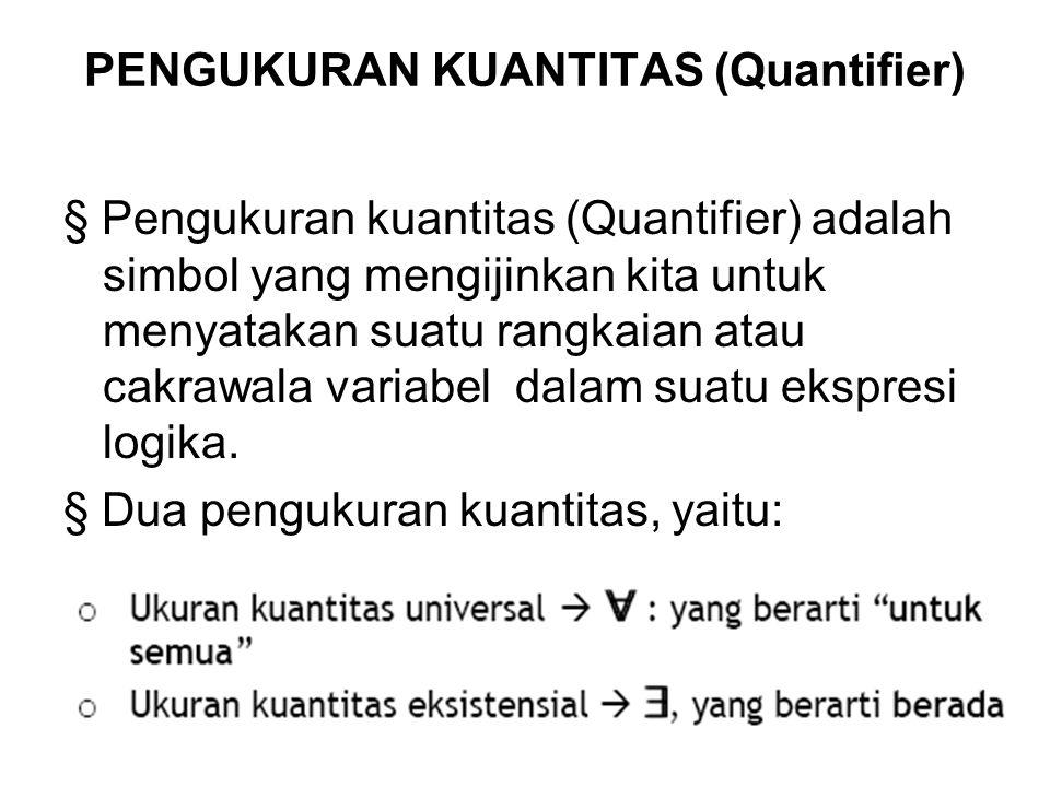 PENGUKURAN KUANTITAS (Quantifier) § Pengukuran kuantitas (Quantifier) adalah simbol yang mengijinkan kita untuk menyatakan suatu rangkaian atau cakraw