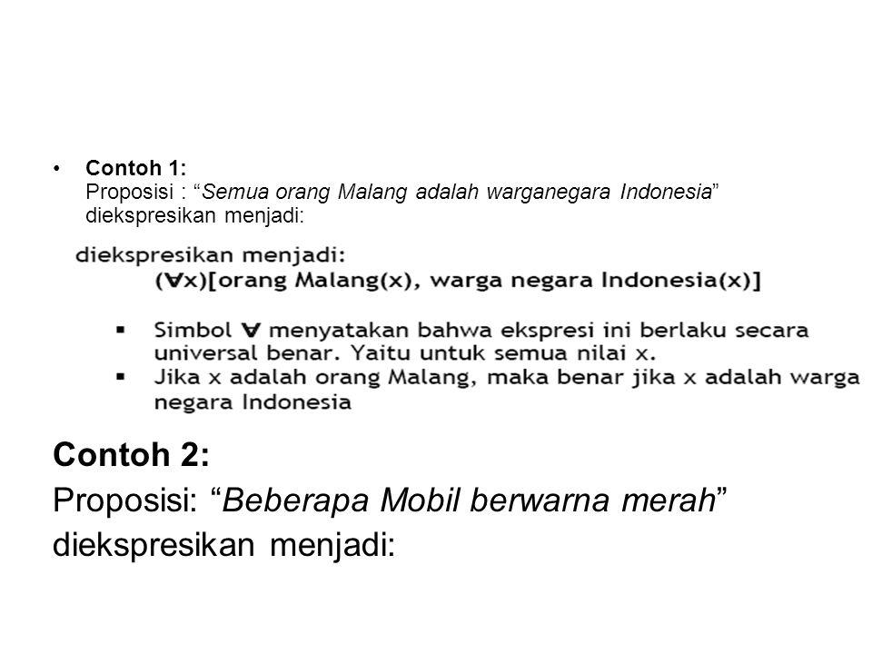 """Contoh 1: Proposisi : """"Semua orang Malang adalah warganegara Indonesia"""" diekspresikan menjadi: Contoh 2: Proposisi: """"Beberapa Mobil berwarna merah"""" di"""