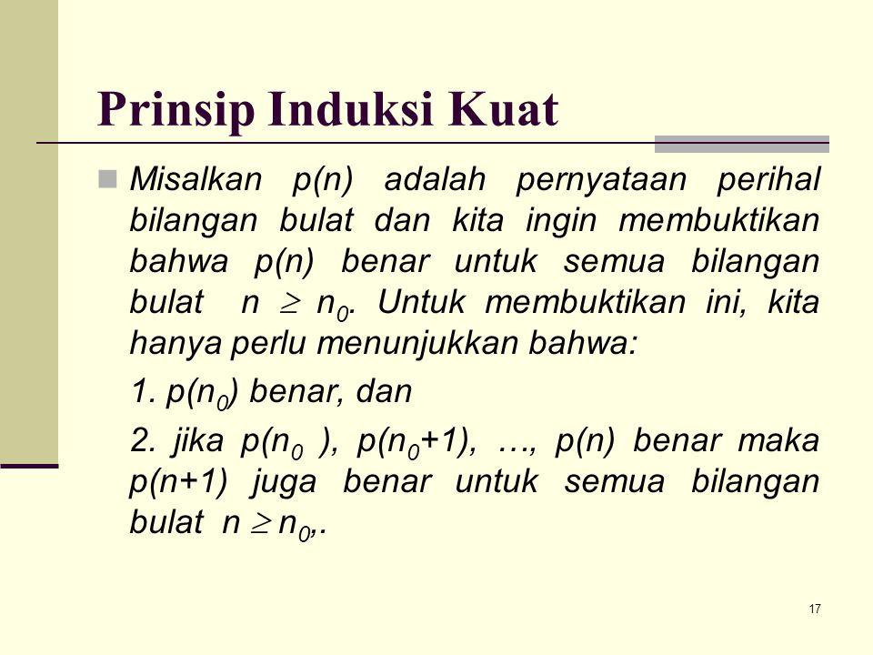 17 Prinsip Induksi Kuat Misalkan p(n) adalah pernyataan perihal bilangan bulat dan kita ingin membuktikan bahwa p(n) benar untuk semua bilangan bulat