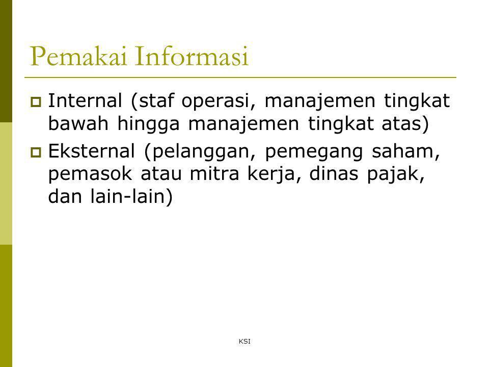 KSI Pemakai Informasi  Internal (staf operasi, manajemen tingkat bawah hingga manajemen tingkat atas)  Eksternal (pelanggan, pemegang saham, pemasok atau mitra kerja, dinas pajak, dan lain-lain)