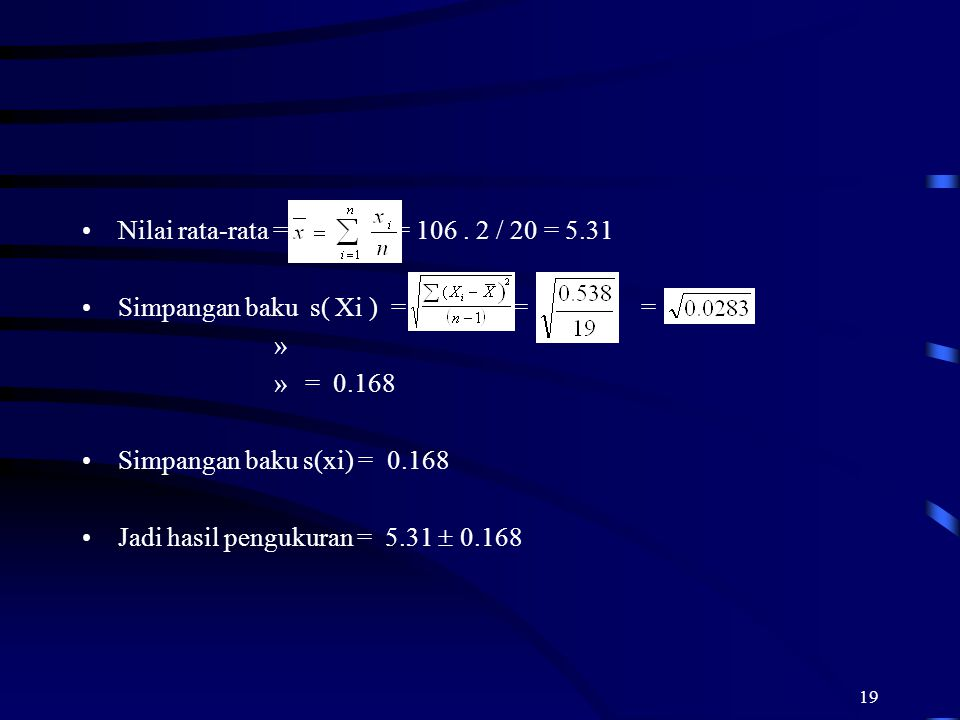 19 Nilai rata-rata = = 106. 2 / 20 = 5.31 Simpangan baku s( Xi ) = = = » » = 0.168 Simpangan baku s(xi) = 0.168 Jadi hasil pengukuran = 5.31  0.168