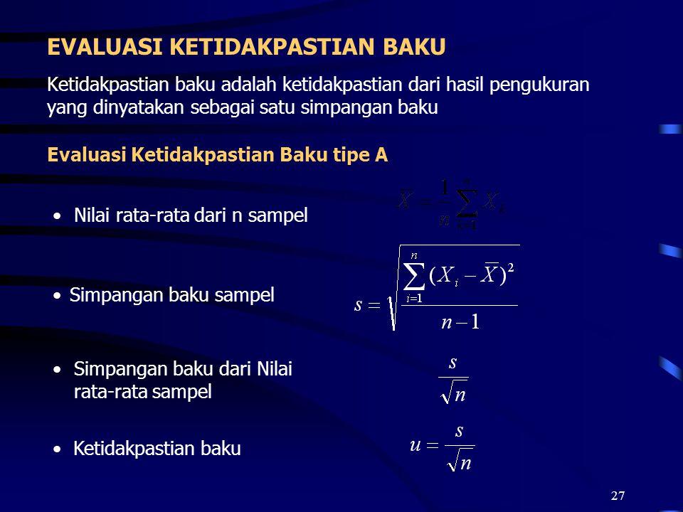 27 EVALUASI KETIDAKPASTIAN BAKU Ketidakpastian baku adalah ketidakpastian dari hasil pengukuran yang dinyatakan sebagai satu simpangan baku Evaluasi K