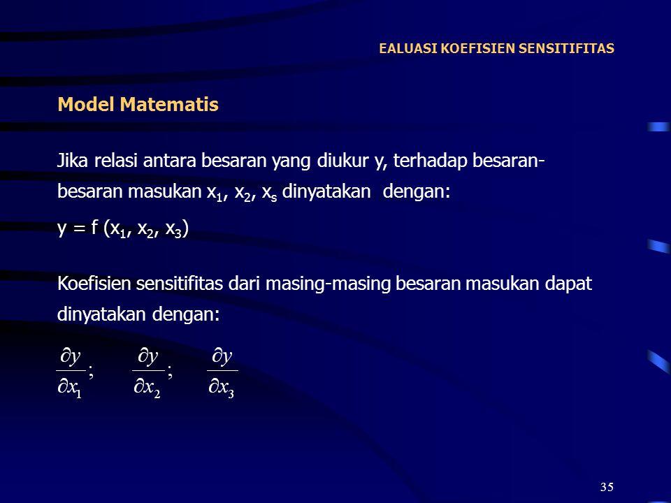 35 EALUASI KOEFISIEN SENSITIFITAS Jika relasi antara besaran yang diukur y, terhadap besaran- besaran masukan x 1, x 2, x s dinyatakan dengan: y = f (