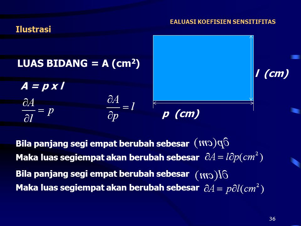 36 EALUASI KOEFISIEN SENSITIFITAS Ilustrasi l (cm) p (cm) LUAS BIDANG = A (cm 2 ) A = p x l Bila panjang segi empat berubah sebesar Maka luas segiempa