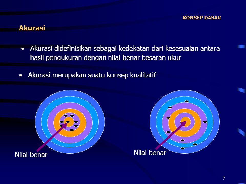 7 KONSEP DASAR Akurasi didefinisikan sebagai kedekatan dari kesesuaian antara hasil pengukuran dengan nilai benar besaran ukur Akurasi Akurasi merupak