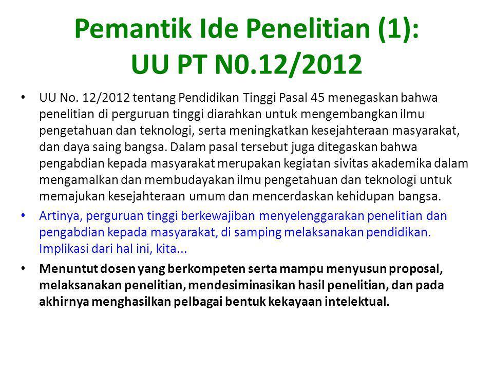 Pemantik Ide Penelitian (1): UU PT N0.12/2012 UU No. 12/2012 tentang Pendidikan Tinggi Pasal 45 menegaskan bahwa penelitian di perguruan tinggi diarah