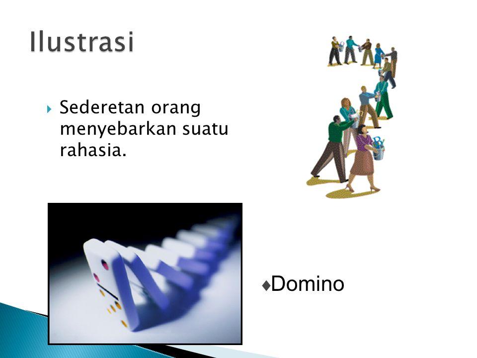  Sederetan orang menyebarkan suatu rahasia.  Domino