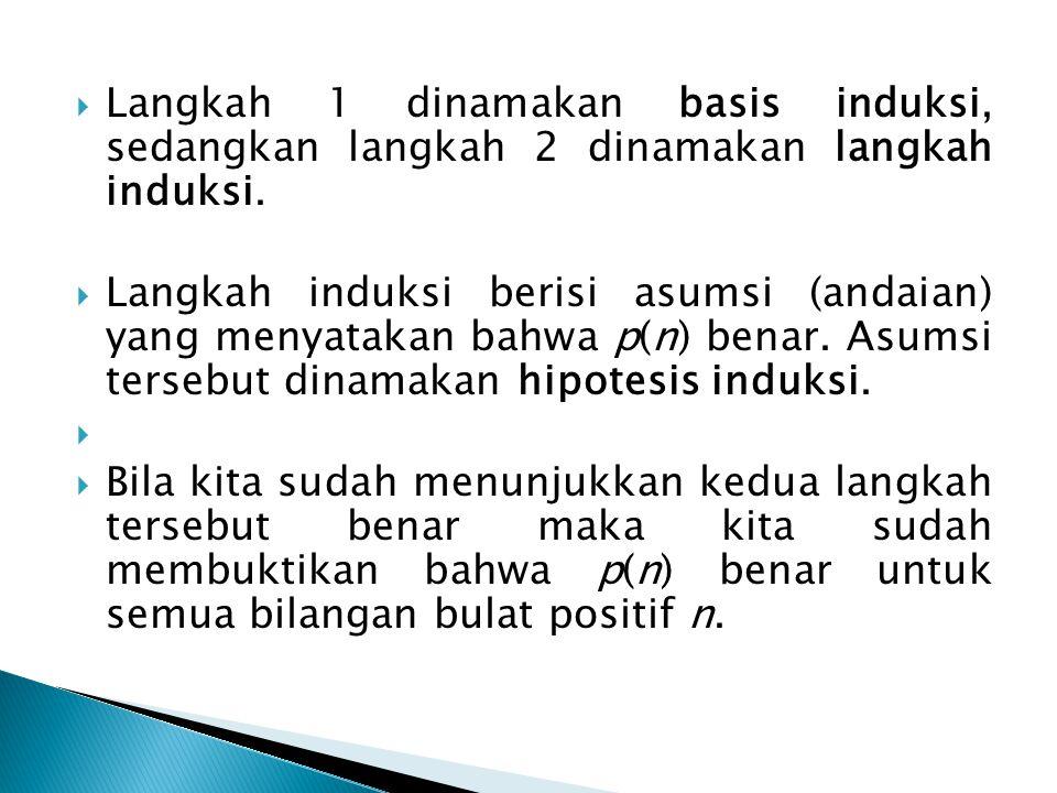  Langkah 1 dinamakan basis induksi, sedangkan langkah 2 dinamakan langkah induksi.  Langkah induksi berisi asumsi (andaian) yang menyatakan bahwa p(