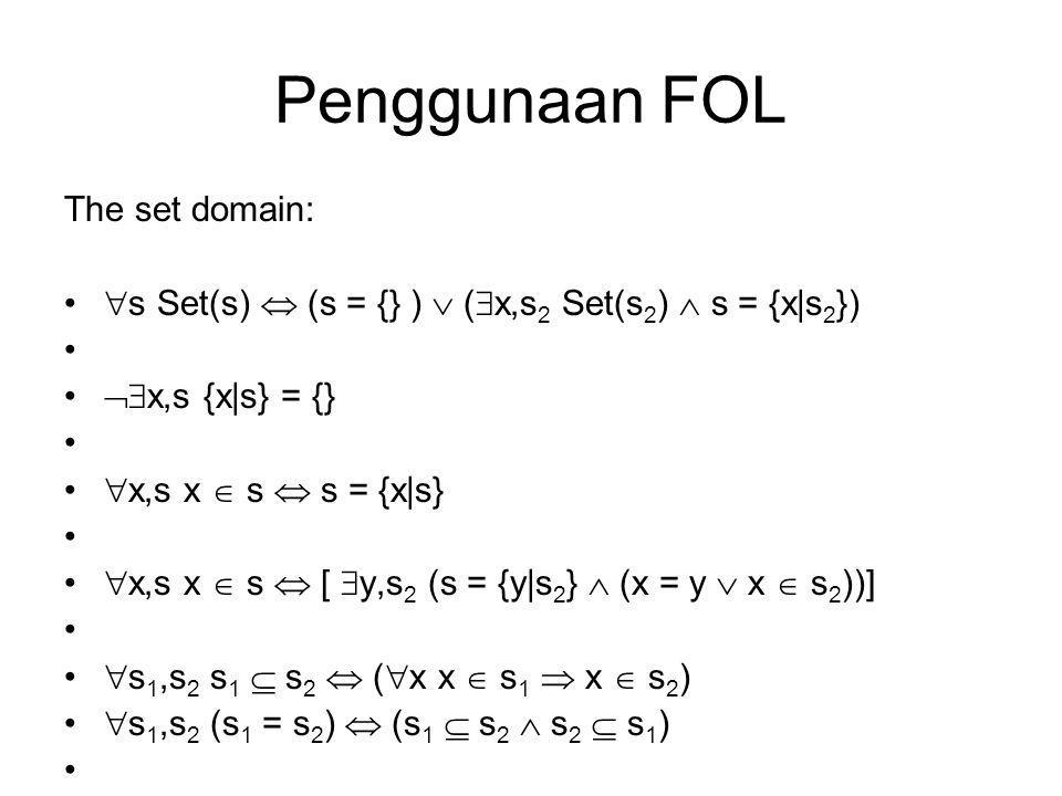 Penggunaan FOL The set domain:  s Set(s)  (s = {} )  (  x,s 2 Set(s 2 )  s = {x|s 2 })  x,s {x|s} = {}  x,s x  s  s = {x|s}  x,s x  s  [