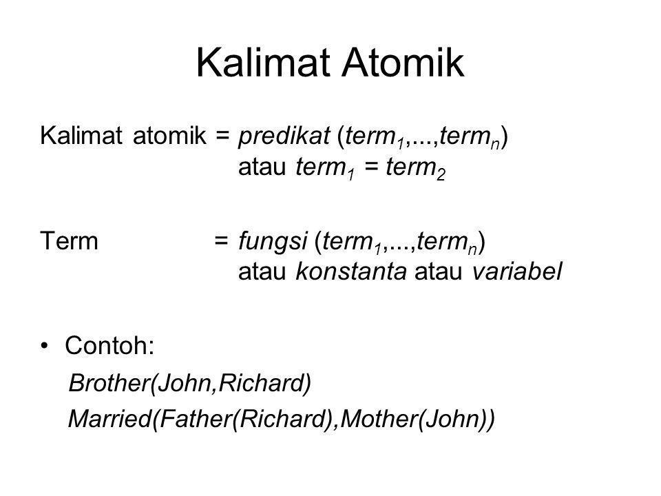 Kalimat Kompleks Kalimat kompleks dibuat dari kalimat- kalimat atomik dengan menggunakan konektif  S, S 1  S 2, S 1  S 2, S 1  S 2, S 1  S 2, Contoh: Sibling(KingJohn,Richard)  Sibling(Richard,KingJohn) >(1,2)  ≤ (1,2) >(1,2)   >(1,2)