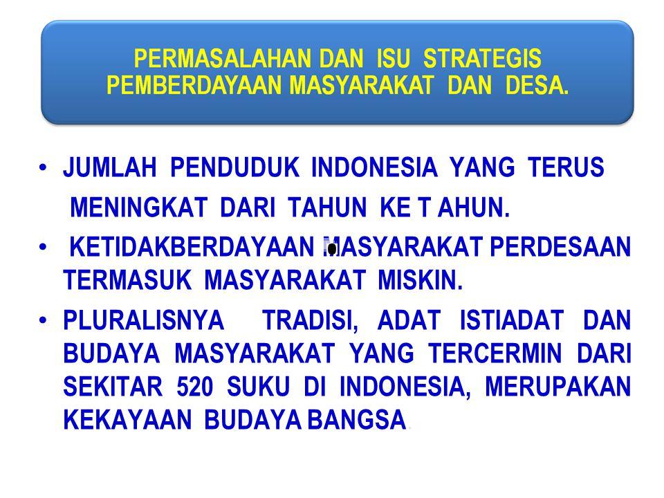 JUMLAH PENDUDUK INDONESIA YANG TERUS MENINGKAT DARI TAHUN KE T AHUN. KETIDAKBERDAYAAN MASYARAKAT PERDESAAN TERMASUK MASYARAKAT MISKIN. PLURALISNYA TRA