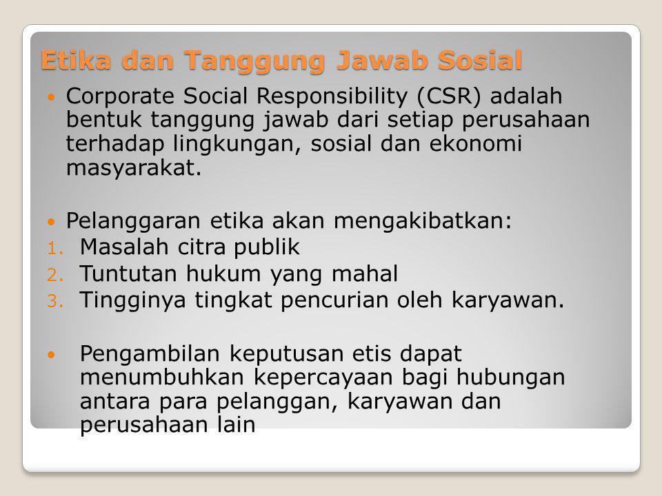 Etika dan Tanggung Jawab Sosial Corporate Social Responsibility (CSR) adalah bentuk tanggung jawab dari setiap perusahaan terhadap lingkungan, sosial