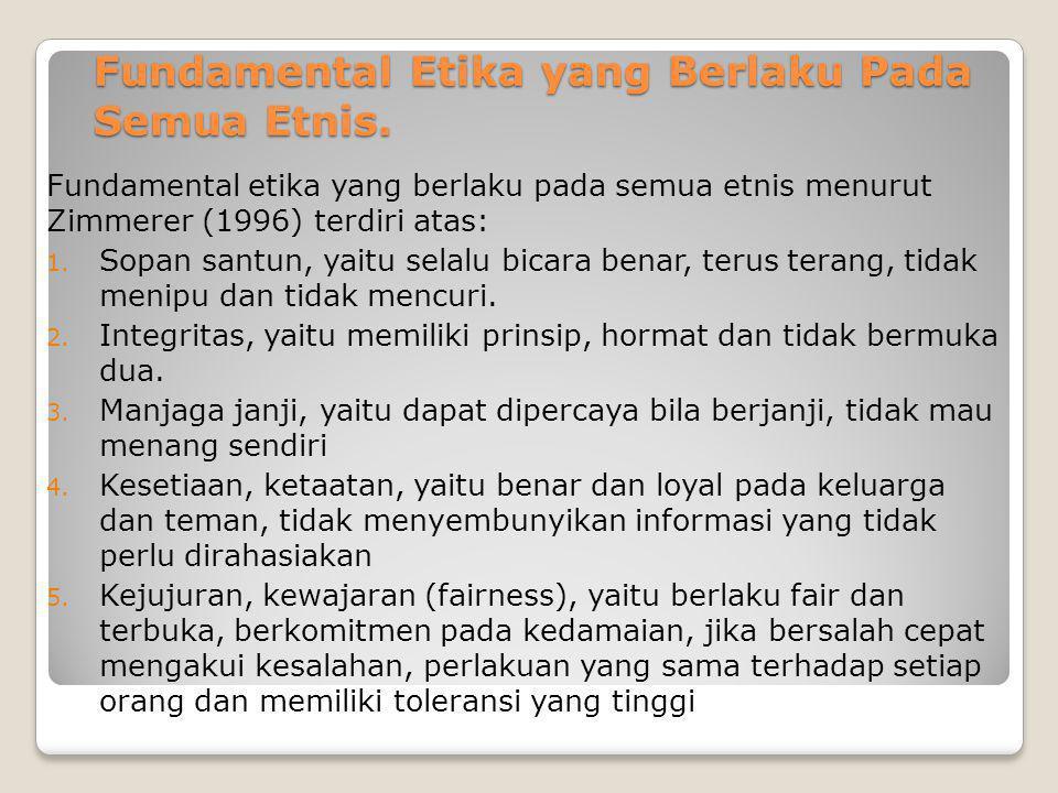 Fundamental Etika yang Berlaku Pada Semua Etnis. Fundamental etika yang berlaku pada semua etnis menurut Zimmerer (1996) terdiri atas: 1. Sopan santun