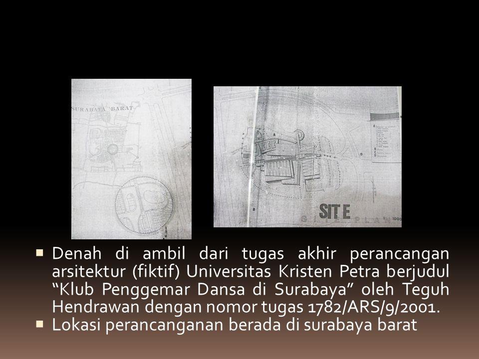 Tapak luar  Denah di ambil dari tugas akhir perancangan arsitektur (fiktif) Universitas Kristen Petra berjudul Klub Penggemar Dansa di Surabaya oleh Teguh Hendrawan dengan nomor tugas 1782/ARS/9/2001.