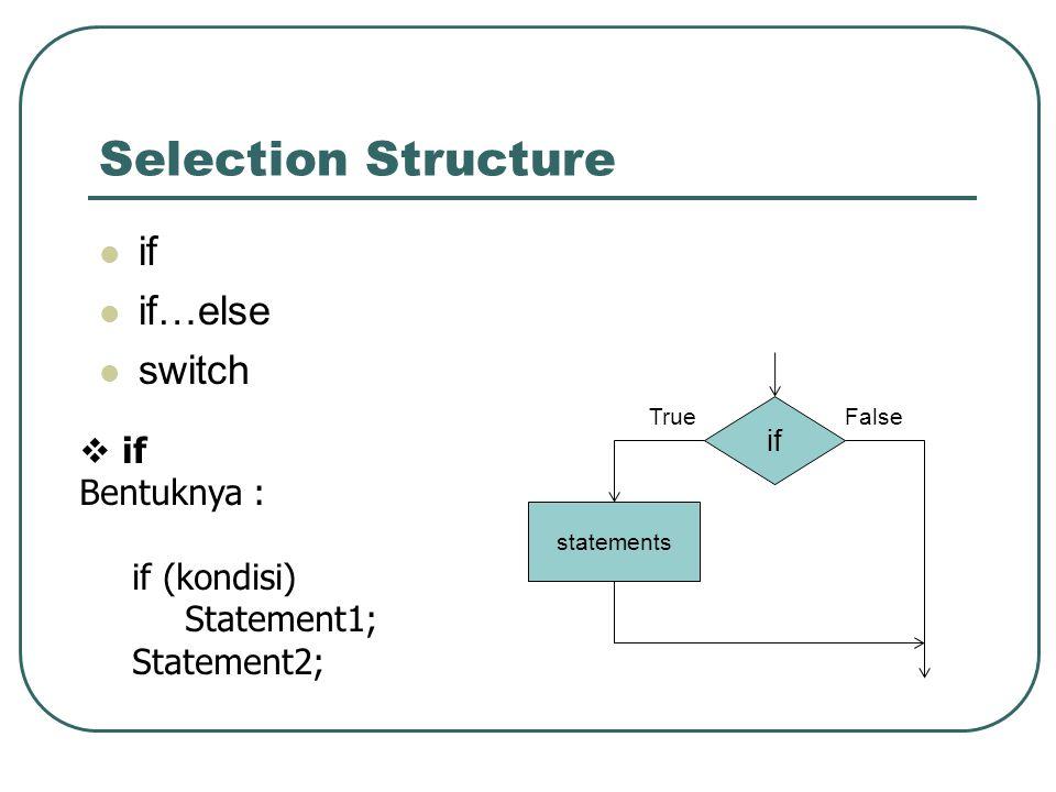 for Bentuk 1 : for (inisialisasi; kondisi; increment) Statement; Bentuk 2 : for (inisialisasi; kondisi; increment) {Statement1; Statement2; … Statementn+1; }