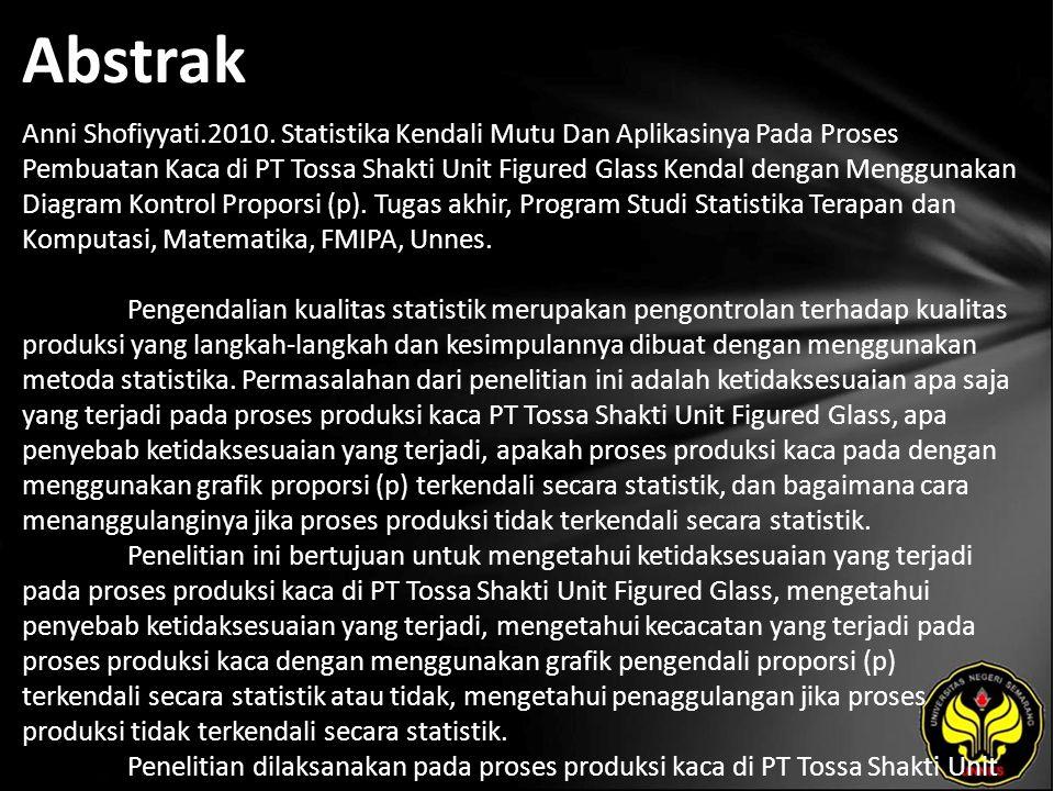 Abstrak Anni Shofiyyati.2010. Statistika Kendali Mutu Dan Aplikasinya Pada Proses Pembuatan Kaca di PT Tossa Shakti Unit Figured Glass Kendal dengan M