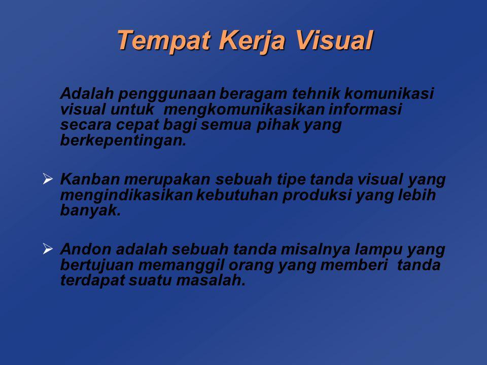 Tempat Kerja Visual Adalah penggunaan beragam tehnik komunikasi visual untuk mengkomunikasikan informasi secara cepat bagi semua pihak yang berkepentingan.