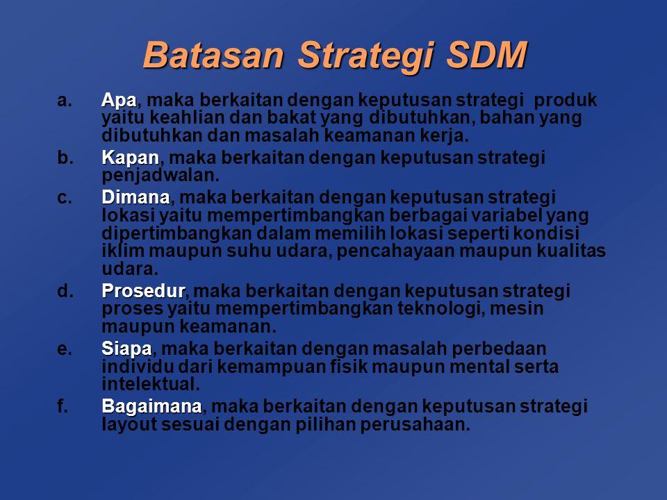 Dengan adanya batasan diatas, dapat dibuat tiga keputusan SDM yaitu :  Perencanaan Tenaga Kerja  Disain Pekerjaan  Standar Tenaga Kerja