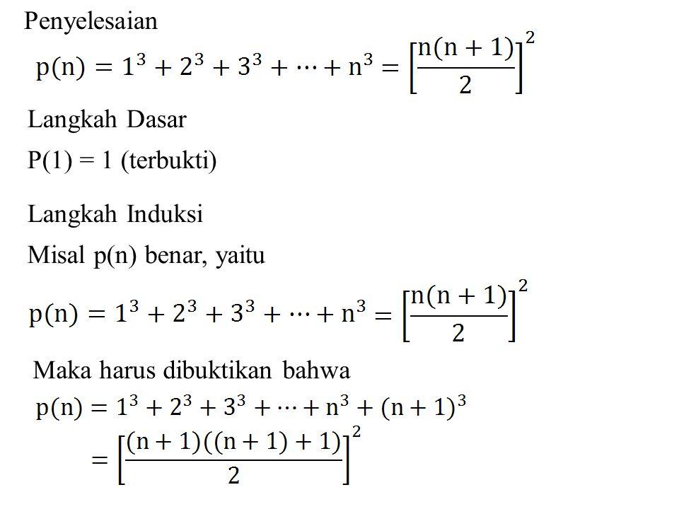 Penyelesaian Langkah Dasar P(1) = 1 (terbukti) Langkah Induksi Misal p(n) benar, yaitu Maka harus dibuktikan bahwa