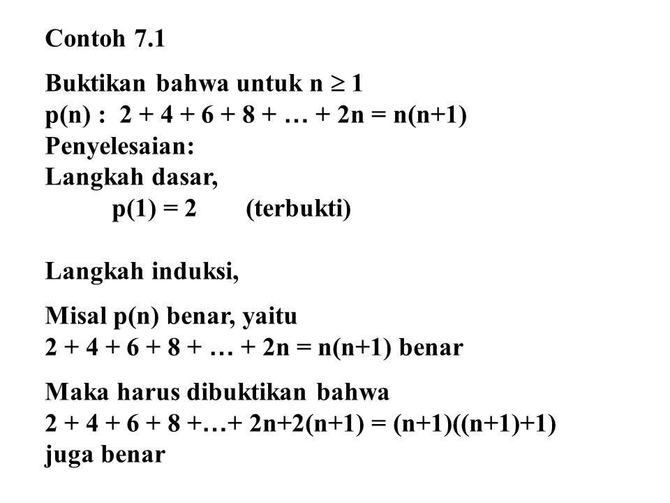 Bukti: 2 + 4 + 6 + 8 + … + 2n = n(n+1) Tambahkan masing-masing ruas dengan 2(n+1) 2 + 4 + 6 + 8 + … + 2n = n 2 + n + 2n + 2 = n 2 + 2n + 1+n + 1 = (n+1)(n+1) + (n+1) = (n+1)((n+1)+1) Terbukti + 2 (n+1) = n(n+1)