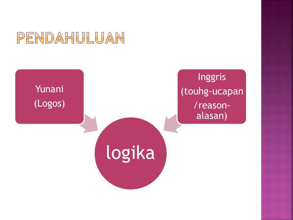 logika Yunani (Logos) Inggris (touhg-ucapan /reason- alasan)