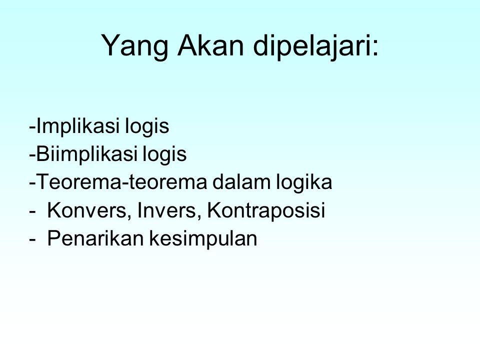 Yang Akan dipelajari: -Implikasi logis -Biimplikasi logis -Teorema-teorema dalam logika -Konvers, Invers, Kontraposisi -Penarikan kesimpulan