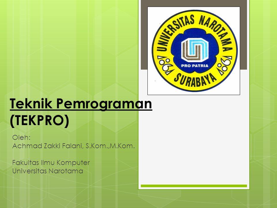 Teknik Pemrograman (TEKPRO) Oleh: Achmad Zakki Falani, S.Kom.,M.Kom. Fakultas Ilmu Komputer Universitas Narotama
