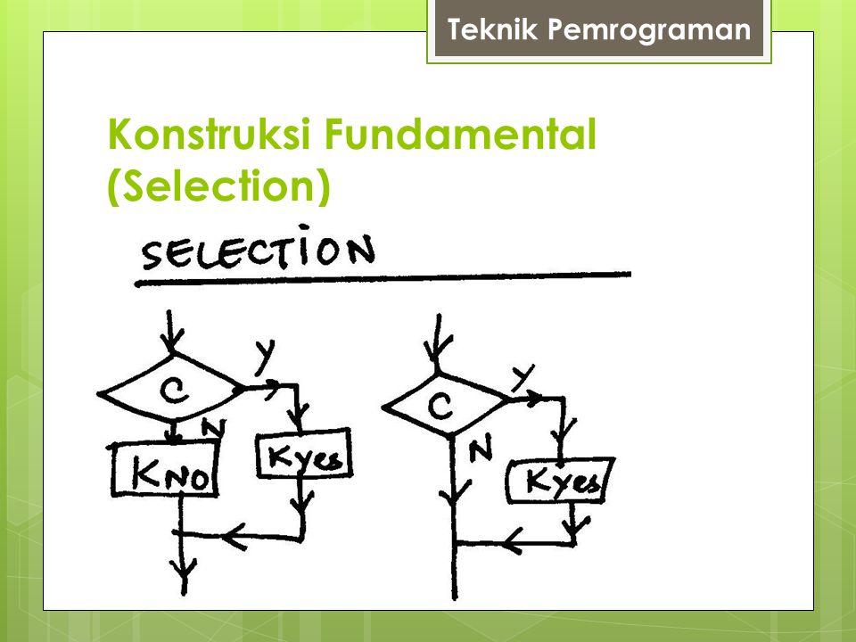 Konstruksi Fundamental (Selection)  Soal (2)  Gambarlah flowchart unuk membantu seorang kasir menentukan jumlah uang yang harus dibayar pembeli pada suatu penjualan berdiscount.