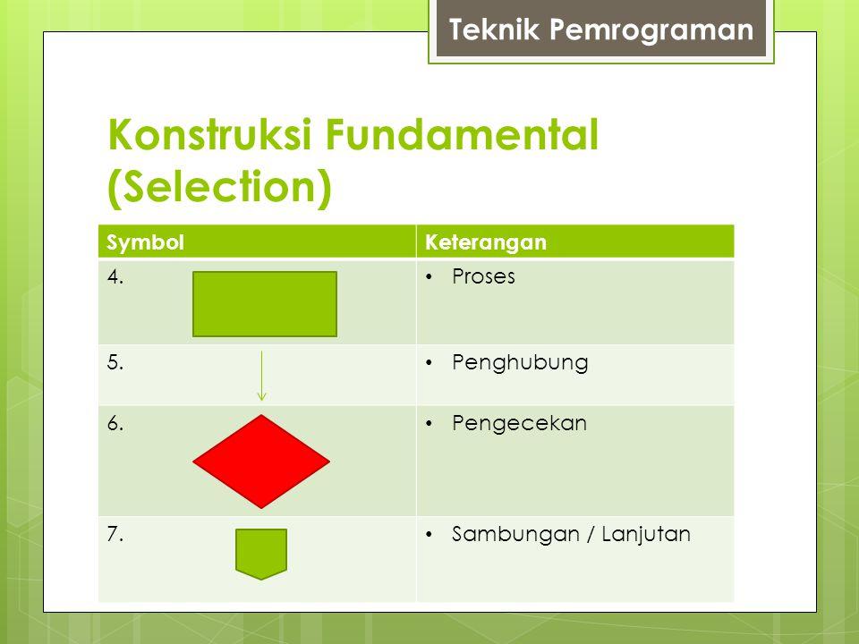 Konstruksi Fundamental (Selection) SymbolKeterangan 4. Proses 5. Penghubung 6. Pengecekan 7. Sambungan / Lanjutan Teknik Pemrograman
