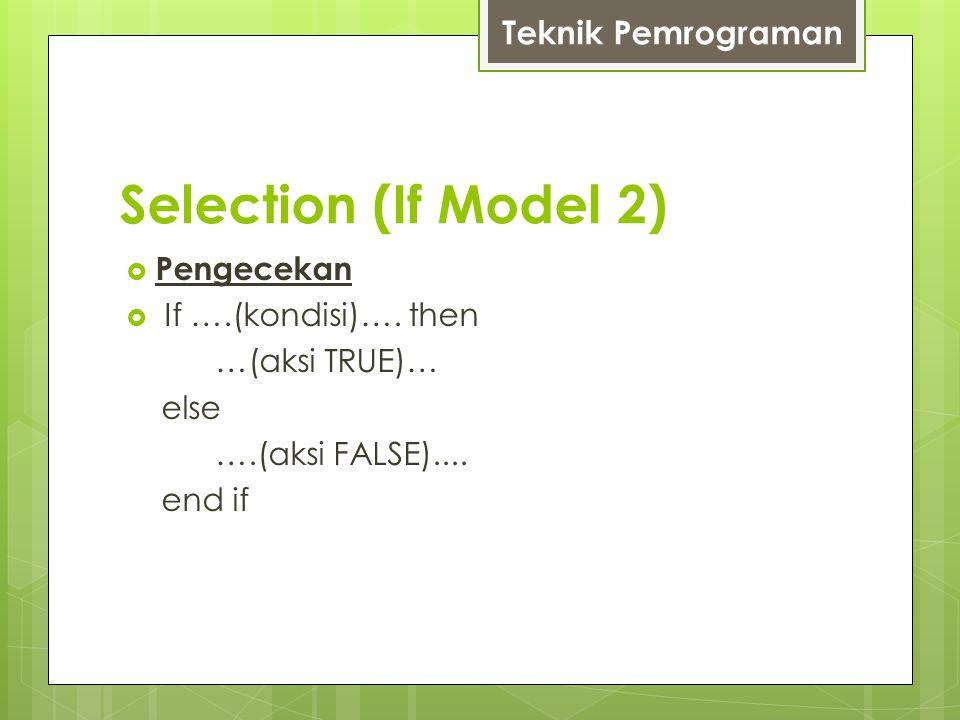 Konstruksi Fundamental (Selection)  Pengecekan  Select Case Case …(kondisi-1)… ………….(aksi-TRUE-1) ………….