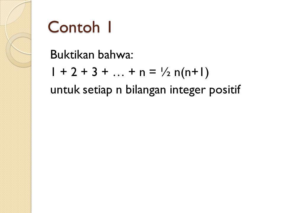 Contoh 1 Buktikan bahwa: 1 + 2 + 3 + … + n = ½ n(n+1) untuk setiap n bilangan integer positif