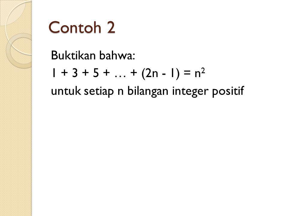 Contoh 2 Buktikan bahwa: 1 + 3 + 5 + … + (2n - 1) = n 2 untuk setiap n bilangan integer positif