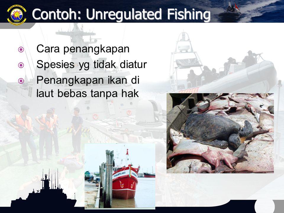 Contoh: Unregulated Fishing  Cara penangkapan  Spesies yg tidak diatur  Penangkapan ikan di laut bebas tanpa hak