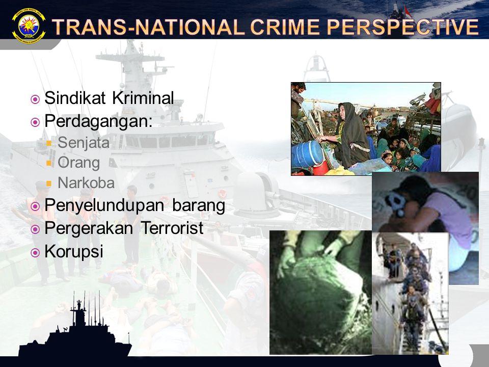  Sindikat Kriminal  Perdagangan:  Senjata  Orang  Narkoba  Penyelundupan barang  Pergerakan Terrorist  Korupsi