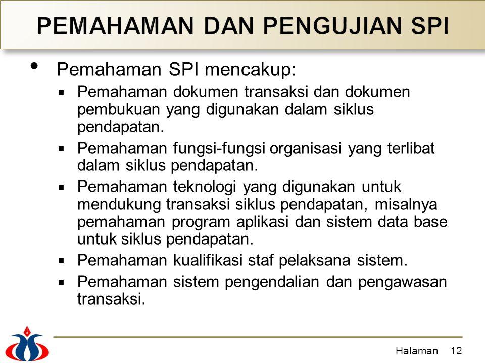 Pemahaman SPI mencakup:  Pemahaman dokumen transaksi dan dokumen pembukuan yang digunakan dalam siklus pendapatan.  Pemahaman fungsi-fungsi organisa
