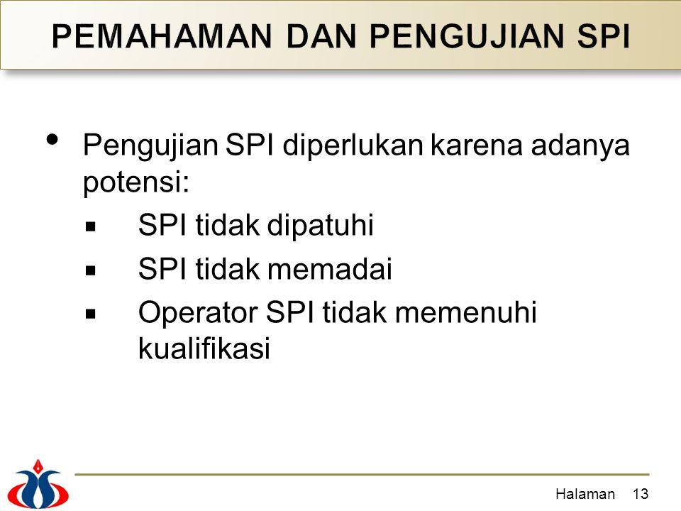 Pengujian SPI diperlukan karena adanya potensi:  SPI tidak dipatuhi  SPI tidak memadai  Operator SPI tidak memenuhi kualifikasi Halaman13