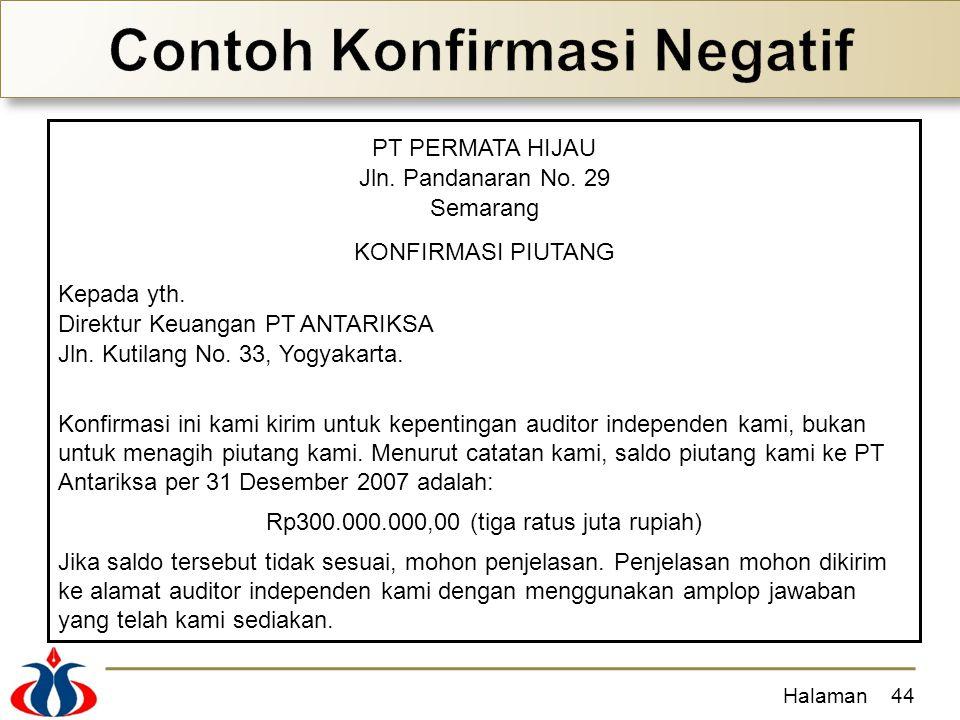 Halaman44 PT PERMATA HIJAU Jln. Pandanaran No. 29 Semarang KONFIRMASI PIUTANG Kepada yth. Direktur Keuangan PT ANTARIKSA Jln. Kutilang No. 33, Yogyaka