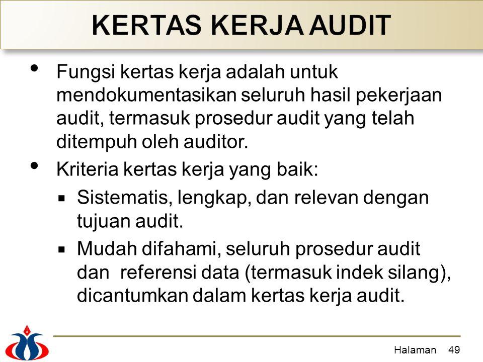 Fungsi kertas kerja adalah untuk mendokumentasikan seluruh hasil pekerjaan audit, termasuk prosedur audit yang telah ditempuh oleh auditor. Kriteria k