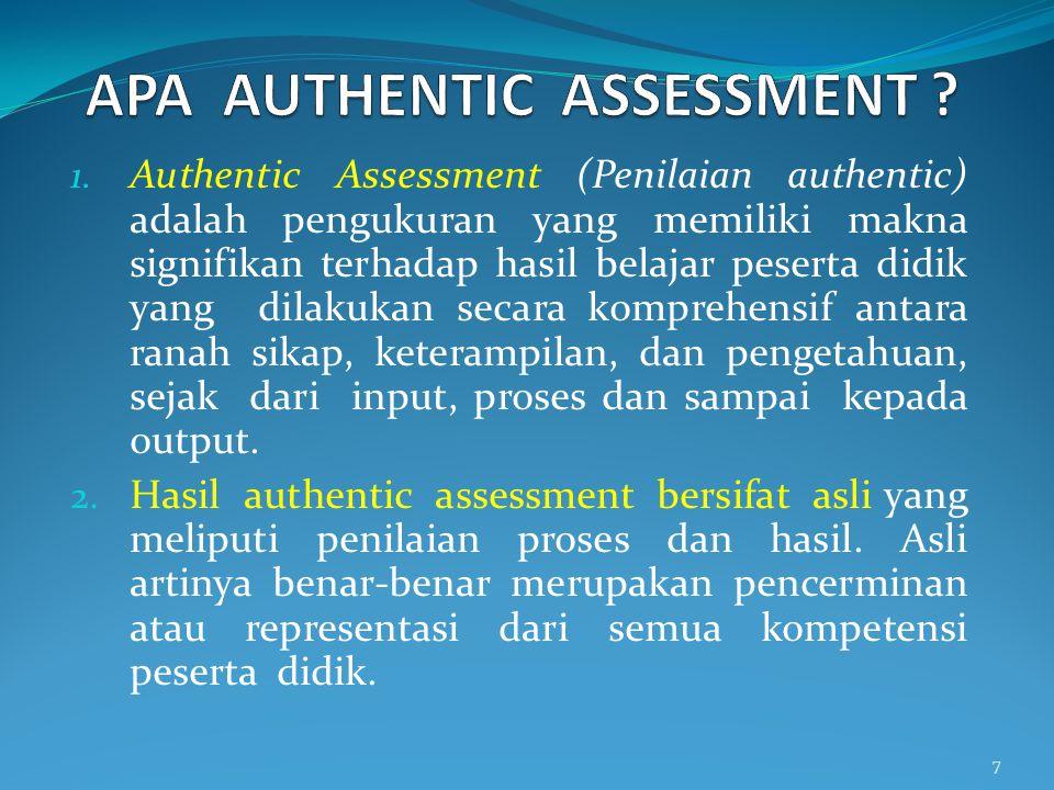 8 Penilaian pendidikan Penilaian autentik Penialian diri Penilaian portofolio Ulangan harian UTSUTK UMTK UN US Ujian Mutu Tingkat Kompetensi Ujian Tingkat Kompetensi