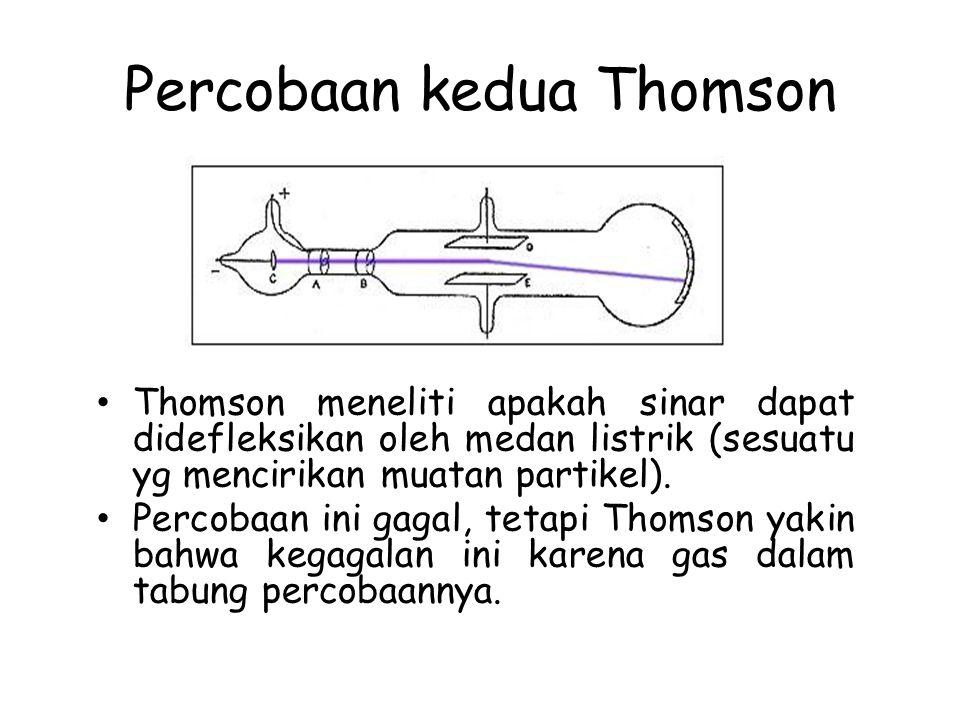 Percobaan kedua Thomson Thomson meneliti apakah sinar dapat didefleksikan oleh medan listrik (sesuatu yg mencirikan muatan partikel). Percobaan ini ga
