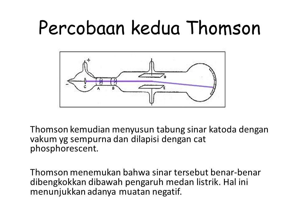 Percobaan kedua Thomson Thomson kemudian menyusun tabung sinar katoda dengan vakum yg sempurna dan dilapisi dengan cat phosphorescent. Thomson menemuk