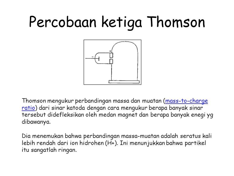 Percobaan ketiga Thomson Thomson mengukur perbandingan massa dan muatan (mass-to-charge ratio) dari sinar katoda dengan cara mengukur berapa banyak si