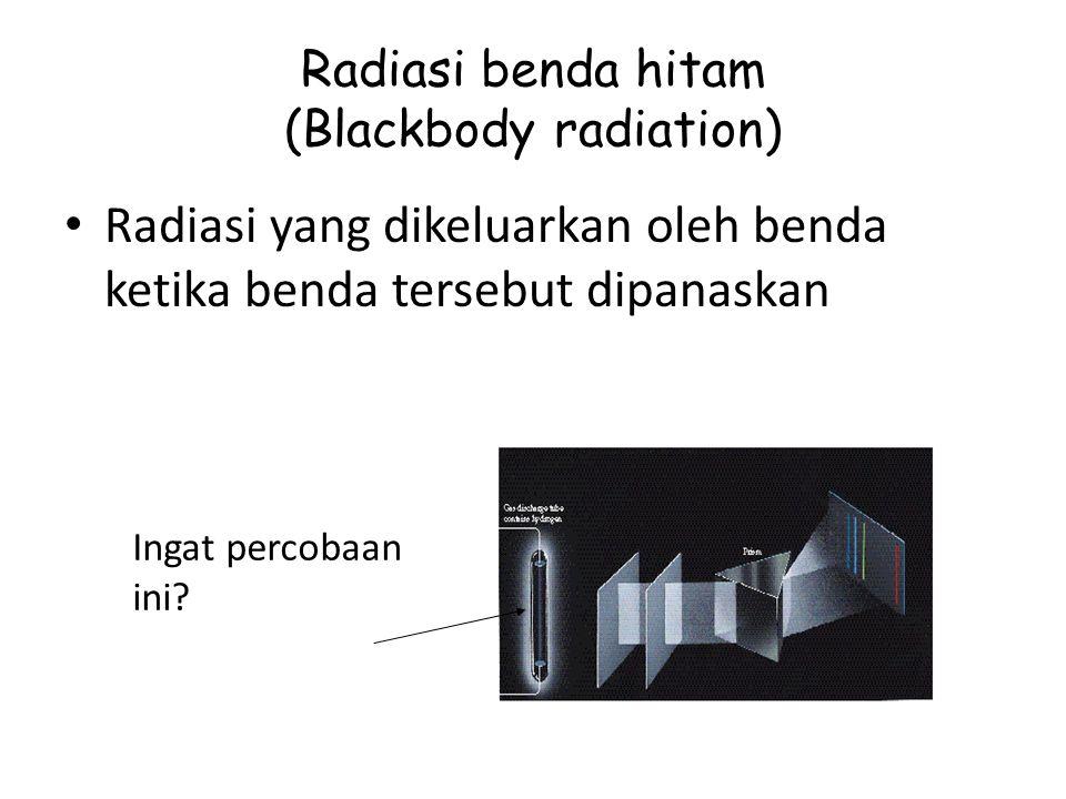 Radiasi benda hitam (Blackbody radiation) Radiasi yang dikeluarkan oleh benda ketika benda tersebut dipanaskan Ingat percobaan ini?