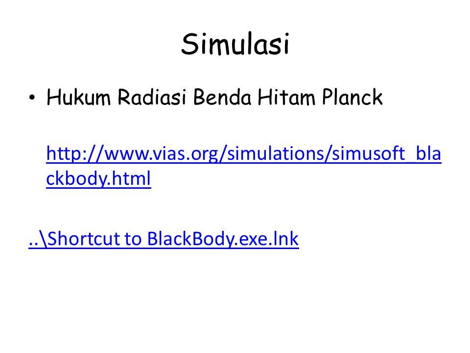 Simulasi Hukum Radiasi Benda Hitam Planck http://www.vias.org/simulations/simusoft_bla ckbody.html http://www.vias.org/simulations/simusoft_bla ckbody