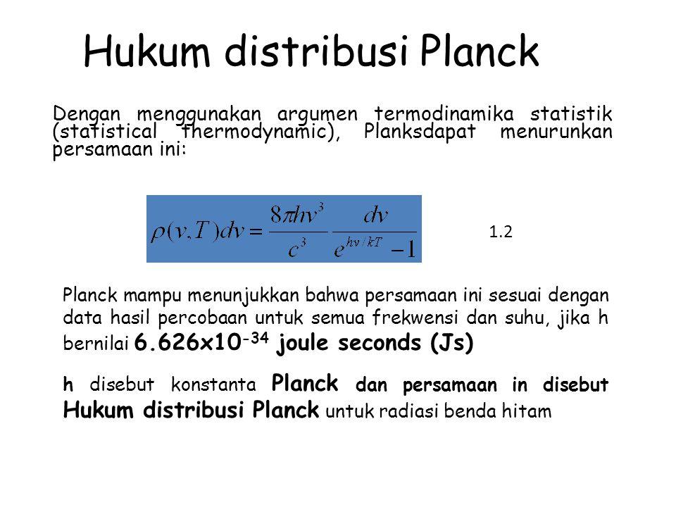 Hukum distribusi Planck Dengan menggunakan argumen termodinamika statistik (statistical thermodynamic), Planksdapat menurunkan persamaan ini: Planck m