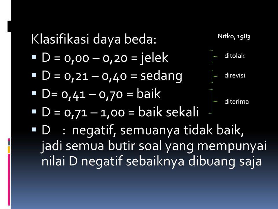 Klasifikasi daya beda:  D = 0,00 – 0,20 = jelek  D = 0,21 – 0,40 = sedang  D= 0,41 – 0,70 = baik  D = 0,71 – 1,00 = baik sekali  D : negatif, sem