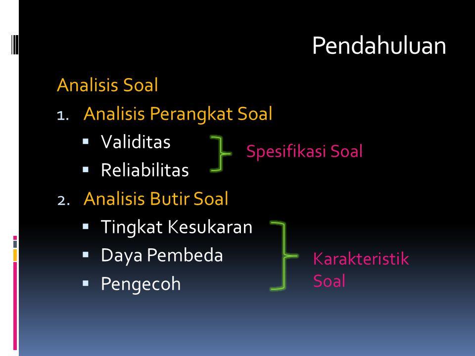 Pendahuluan Analisis Soal 1. Analisis Perangkat Soal  Validitas  Reliabilitas 2. Analisis Butir Soal  Tingkat Kesukaran  Daya Pembeda  Pengecoh S