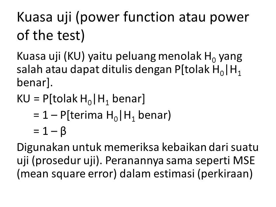 Kuasa uji (power function atau power of the test) Kuasa uji (KU) yaitu peluang menolak H 0 yang salah atau dapat ditulis dengan P[tolak H 0 |H 1 benar