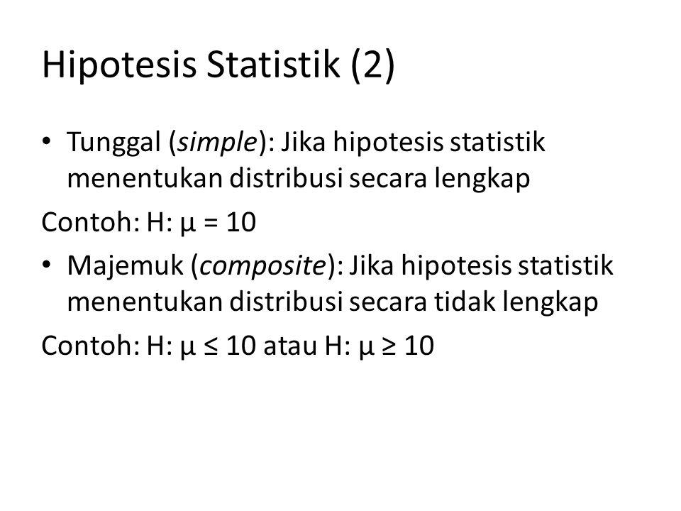 Hipotesis Statistik (3) H 0 (Pernyataan yang diharapkan akan ditolak) H 1 (Pernyataan yang diharapkan  sesuai dengan harapan yang akan diteliti) Contoh 1: (simple pada H 0 dan H 1 ) H 0 : µ = 10 H 1 : µ = 12