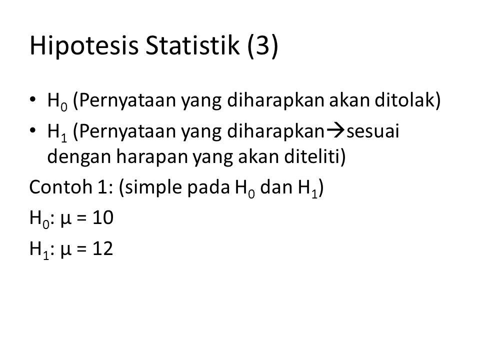 Hipotesis Statistik (4) Contoh 2: (Composite pada H 0 dan H 1 ) H 0 : µ ≤ 10 atau dapat ditulis H 0 : µ = 10 H 1 : µ > 10 Contoh 3: (Composite pada H 0 dan H 1 ) H 0 : µ ≥ 10 atau dapat ditulis H 0 : µ = 10 H 1 : µ < 10